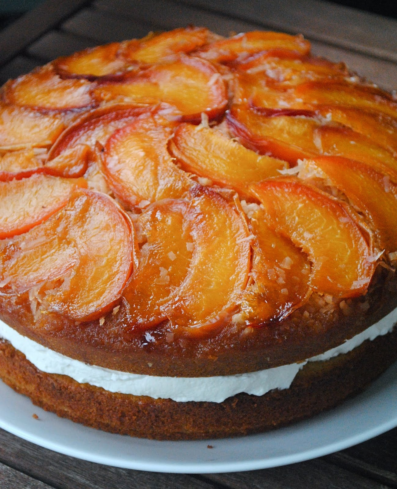 Coconut Peach Upside Down Cake | Fat Girl Trapped in a ...